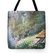 A Rose On The Bench Tote Bag