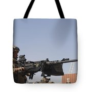 A Royal Marine Manning A .50 Caliber Tote Bag