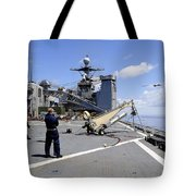 A Scan Eagle Uav Is Launched Tote Bag