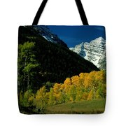 A Scenic View Of Yellow And Green Trees Tote Bag