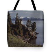A Scenic View Of Yellowstone Lake Tote Bag