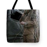 A Scout Observer Applies Camouflage Tote Bag