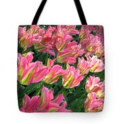 A Sea Of Pink Tulips. Square Format Tote Bag