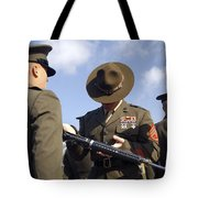 A Senior Drill Instructor Inspects Tote Bag