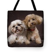 A Shihtzu And A Poodle On A Brown Tote Bag