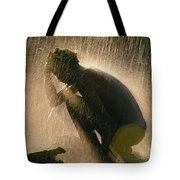 A Silhouetted Man Cooling Off In Water Tote Bag