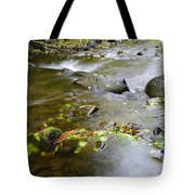 A Small Dam Of Golden Leaves  Tote Bag