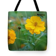 A Small Dragon Fly Sitting On A Yellow Flower Tote Bag