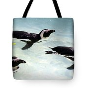 A Small Squadron Of Swimming Penguins Tote Bag