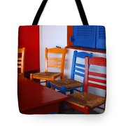 Colorful Table And Chairs Greece Tote Bag