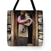 A Smiling Bhutanese Woman And Child Tote Bag