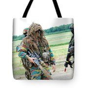 A Sniper Of The Belgian Army Together Tote Bag