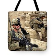 A Soldier Calls In Description Tote Bag