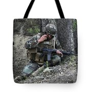 A Soldier Communicates His Position Tote Bag