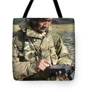 A Soldier Inputs The Firing Data Tote Bag