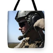 A Soldier Keeps In Radio Contact Tote Bag by Stocktrek Images