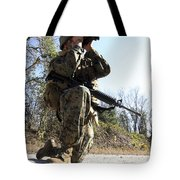A Soldier Looking Through Binoculars Tote Bag