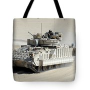 A Soldier Looks Out Of The Top Hatch Tote Bag