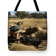A Soldier Mans His Position At Fort Tote Bag