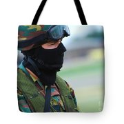 A Soldier Of The Special Forces Group Tote Bag by Luc De Jaeger