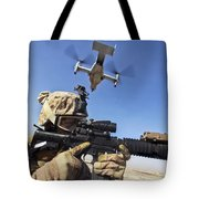 A Soldier Provides Security As An Mv-22 Tote Bag