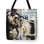 A Soldier Provides Security Tote Bag