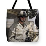 A Soldier Stands Watch At The Camp Tote Bag