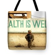 A Soldier Talks To An Afghan Boy Tote Bag