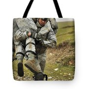 A Soldier Transports A Fellow Wounded Tote Bag