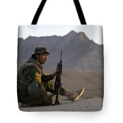 A Soldier With The Afghan National Army Tote Bag