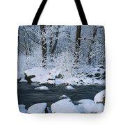A Stream Running Through Snowy Woodland Tote Bag