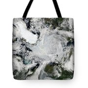 A Strong Storm Lingering In The Center Tote Bag