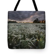 A Summer Sunrise With Storm Clouds Tote Bag