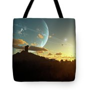 A Sunset On A Forested Moon Which Tote Bag