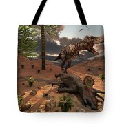 A T-rex Comes Across The Carcass Tote Bag