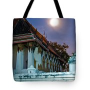 A Tempel In A Wat During A Full Moon Night  Tote Bag