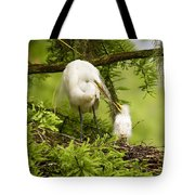 A Tender Moment - Great Egret And Chick Tote Bag