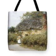 A Thatched Cottage Near Peaslake Surrey Tote Bag