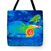 A Thermogram Of A Man Working On A Car Tote Bag