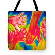 A Thermogram Of A Pile Of Human Hands Tote Bag