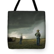 A Thunderstorm Halts Haying As Two Tote Bag
