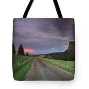A Twilight View Down A Dirt Road Tote Bag