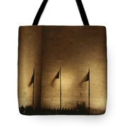 A Twilight View Of American Flags Tote Bag