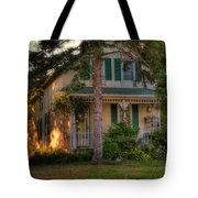A Typical Old Cottage In Town Tote Bag