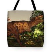A Tyrannosaurus Rex Runs Tote Bag by Corey Ford