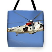 A Uh-3h Sea King Helicopter Flies Tote Bag