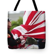 A United States Marine Takes Tote Bag