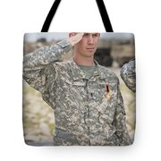 A U.s Army Soldier And Recipient Tote Bag