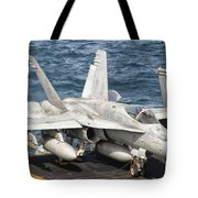 A Us Navy Fa-18c Hornet Tied Tote Bag by Giovanni Colla