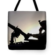 A U.s. Soldier Talks On A Hand Mike Tote Bag by Stocktrek Images